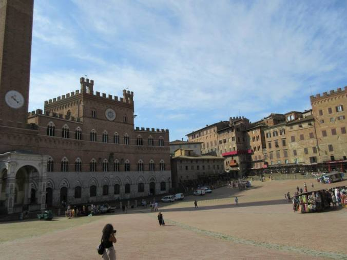 Siena begins to prepare the square for il Palio, horse race. August 2014